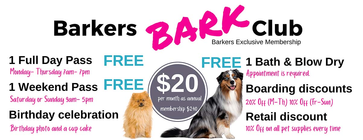 Barkers pet center membership